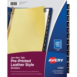 Avery® Black Leather Pre-printed Tab Dividers - Gold Reinforced