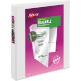 "Avery® Durable View Binder, 1"" Slant Rings, 220-Sheet Capacity, DuraHinge(R), White (17012)"
