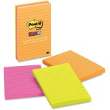 Post-it Super Sticky Notes, 4 in x 6 in, Rio de Janeiro Color Collection, Lined