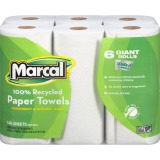 Marcal 2 Ply Paper Towel, 140/Roll, 6 Rolls / Pack