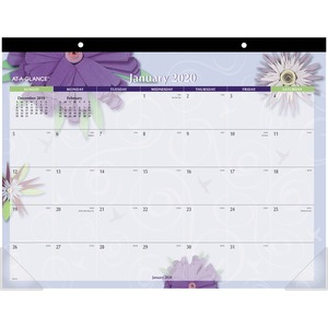 At-A-Glance Paper Flowers Monthly Desk Pad