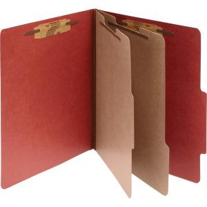 ACCO® Pressboard 6-Part Classification Folders, Letter, Red, Box of 10