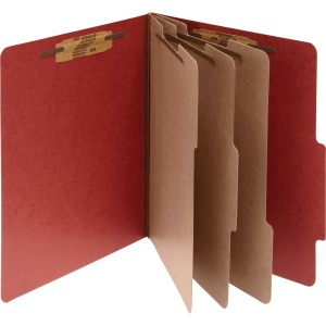 ACCO® Pressboard 8-Part Classification Folders, Letter, Red, Box of 10