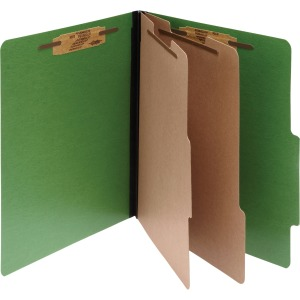 ACCO® ColorLife® PRESSTEX® 6-Part Classification Folders, Letter, Dark Green, Box of 10