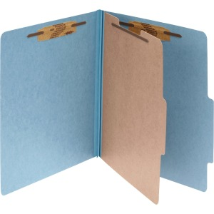 ACCO® Pressboard 4-Part Classification Folders, Legal, Sky Blue, Box of 10