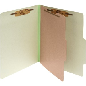 ACCO® Pressboard 4-Part Classification Folders, Legal, Leaf Green Box of 10