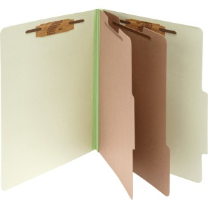 ACCO® Pressboard 6-Part Classification Folders, Legal, Leaf Green, Box of 10