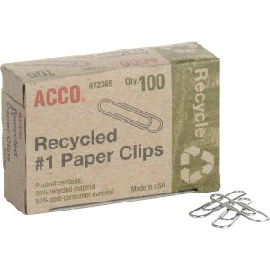 ACCO® Recycled Paper Clips, Smooth Finish, #1 Size, 100/Box