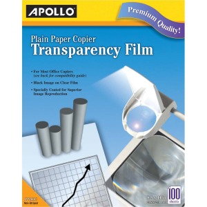 Apollo® Plain Paper Copier Film Without Stripe, Black-&-White, 100 Sheets