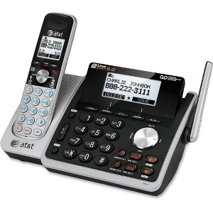 AT&T TL88102 DECT 6.0 2-Line Expandable Corded/Cordless Phone with Answering System, Silver/Black, 1 Handset