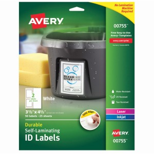 "Avery® Easy Align(R) Self-Laminating ID Labels, 4-1/2"" x 3-1/2"", Pack of 50 (00755)"