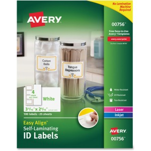 "Avery® Easy Align(R) Self-Laminating ID Labels, Permanent Adhesive, 2-5/16"" x 3-5/16"", 100 Labels (00756)"