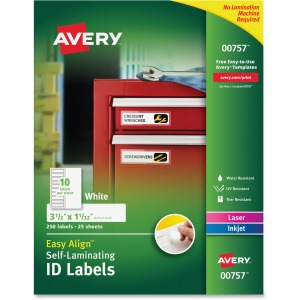 "Avery® Easy Align(R) Self-Laminating ID Labels, Permanent Adhesive, 1-1/32"" x 3-1/2"", 250 Labels (00757)"