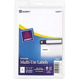"Avery® Removable Labels, Removable Adhesive, 1-1/2"" x 3"" , 150 Labels"
