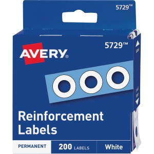 Avery® Hole Reinforcements, White, 200 Labels (5729)