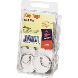 "Avery® 1-1/4"" Metal Rim Key Tags, Split Ring, White, 50 Tags (11025)"
