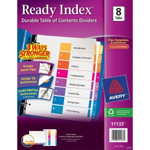 Avery® Ready Index 8 Tab Dividers, Customizable TOC, 1 Set (11133)