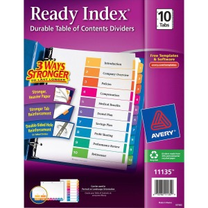Avery® Ready Index 10 Tab Dividers, Customizable TOC, 1 Set (11135)