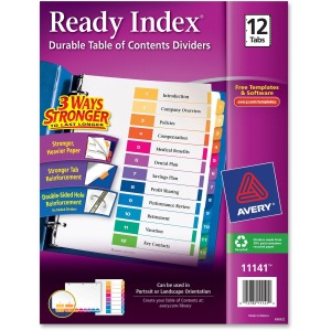 Avery® Ready Index 12 Tab Dividers, Customizable TOC, 1 Set (11141)