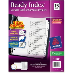 Avery® Ready Index Binder Dividers - Customizable Table of Contents