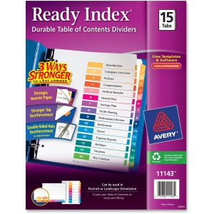 Avery® Ready Index 15 Tab Dividers, Customizable TOC, 1 Set (11143)