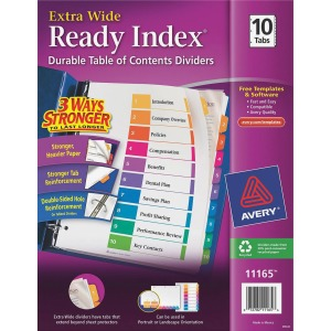 Avery® Ready Index Customizable Table of Contents Extra-Wide Dividers