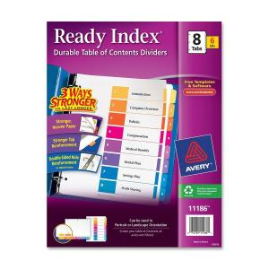 Avery® Ready Index(R) 8-Tab Binder Dividers, Customizable Table of Contents, Multicolor Tabs, 6 Sets (11186)