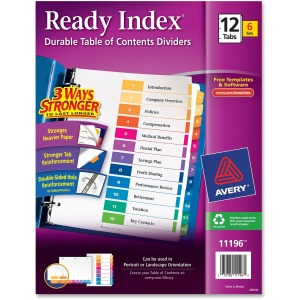 Avery® Ready Index(R) 12-Tab Binder Dividers, Customizable Table of Contents, Multicolor Tabs, 6 Sets (11196)