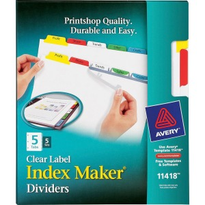 Avery® Index Maker Print & Apply Clear Label Dividers with Traditional Color Tabs