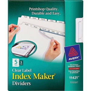 Avery® Index Maker Print & Apply Clear Label Dividers with White Tabs for Copiers