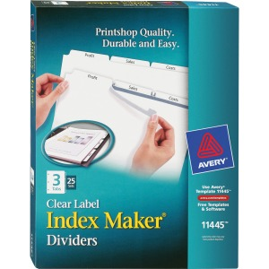 Avery® Index Maker Print & Apply Clear Label Dividers with White Tabs