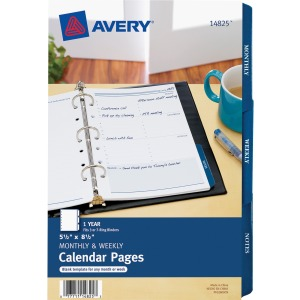 "Avery® 5.5"" x 8.5"" Mini Calendar Pages, Fits 3-Ring/7-Ring Binders, White Monthly/Weekly, 25 Pages (14825)"