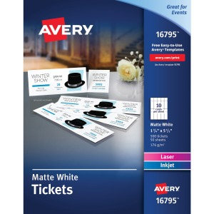 Avery® Tear-Away Stubs Matte Printable Tickets