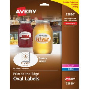 Avery Glossy Print-to-the-Edge Oval Labels