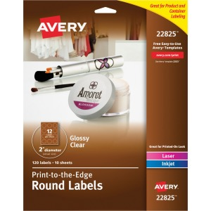 Avery Glossy Clear Print-to-the-Edge Round Labels