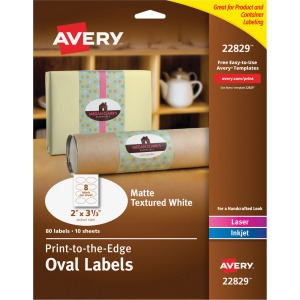 Avery Matte Textured White Print-to-the-Edge Oval Labels