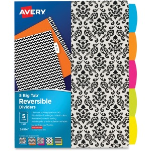 Avery® Big Tab Reversible Fashion Dividers, 5 Tabs Set, Assorted Designs (24914)