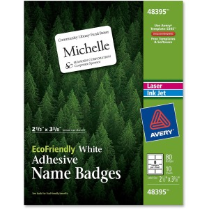 Avery EcoFriendly Adhesive Name Badge Labels