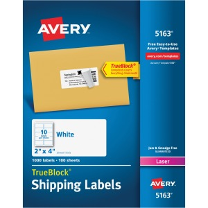"Avery® TrueBlock(R) Shipping Labels, Sure Feed(TM) Technology, Permanent Adhesive, 2"" x 4"", 1,000 Labels (5163)"