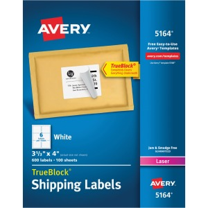 "Avery® TrueBlock(R) Shipping Labels, Sure Feed(TM) Technology, Permanent Adhesive, 3-1/3"" x 4"", 600 Labels (5164)"