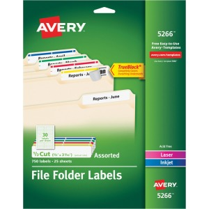 "Avery® TrueBlock(R) Permanent File Folder Labels with Sure Feed(TM), 2/3"" x 3-7/16"", 750 Assorted Labels (5266)"
