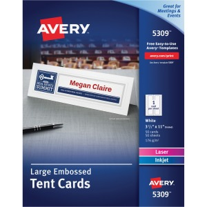"Avery® Printable Large Tent Cards, Embossed, Two-Sided Printing, 3-1/2"" x 11"", 50 Cards (5309)"