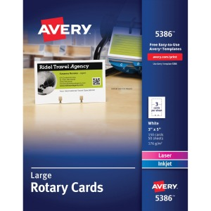 "Avery® Rotary Cards, Uncoated, Two-Sided Printing, 2-1/6"" x 4"", 400 Cards (5385)"