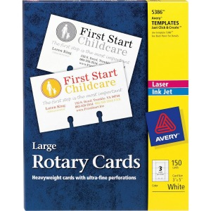 "Avery® Large Rotary Cards, Uncoated, Two-Sided Printing, 3"" x 5"", 150 Cards (5386)"
