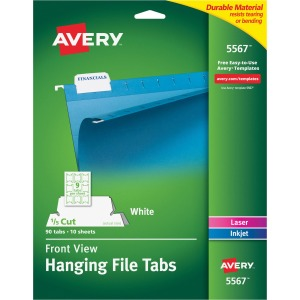 Avery® 5567 Print/Write-On Hanging Tabs, 1/5 Tab, 2 1/16, White (Pack of 90)
