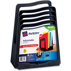 Avery® Adjustable File Rack, Five Slots, Black (73523)