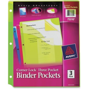 Avery® Corner Lock(R) Binder Pockets, Fits 3-Ring Binders, with Three Assorted Pockets, Blue, Green, Pink (75310)