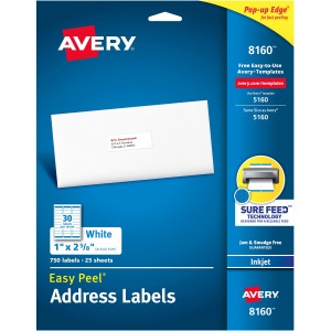 "Avery® Easy Peel(R) Address Labels, Sure Feed(TM) Technology, Permanent Adhesive, 1"" x 2-5/8"", 750 Labels (8160)"