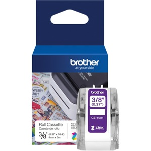 "Brother Genuine CZ-1001 3/8"" (0.37"") 9mm wide x 16.4 ft. (5 m) long label roll featuring ZINK® Zero Ink technology"