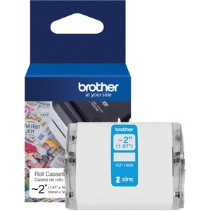 "Brother Genuine CZ-1005 continuous length ~ 2 (1.97"") 50 mm wide x 16.4 ft. (5 m) long label roll featuring ZINK® Zero Ink technology"